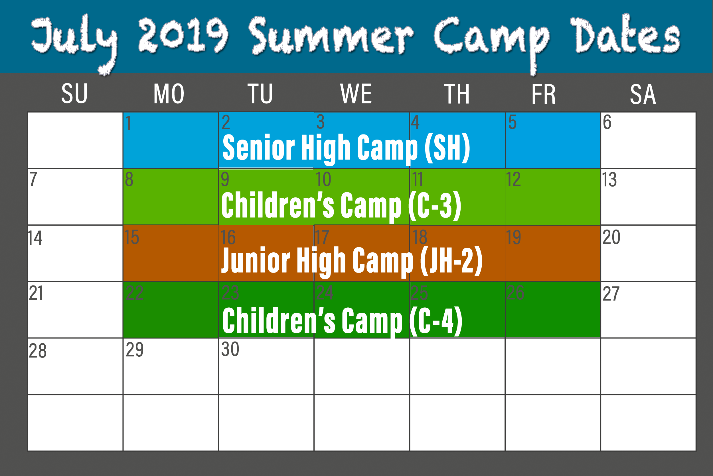 2019 July BCCC Summer Camp calendar
