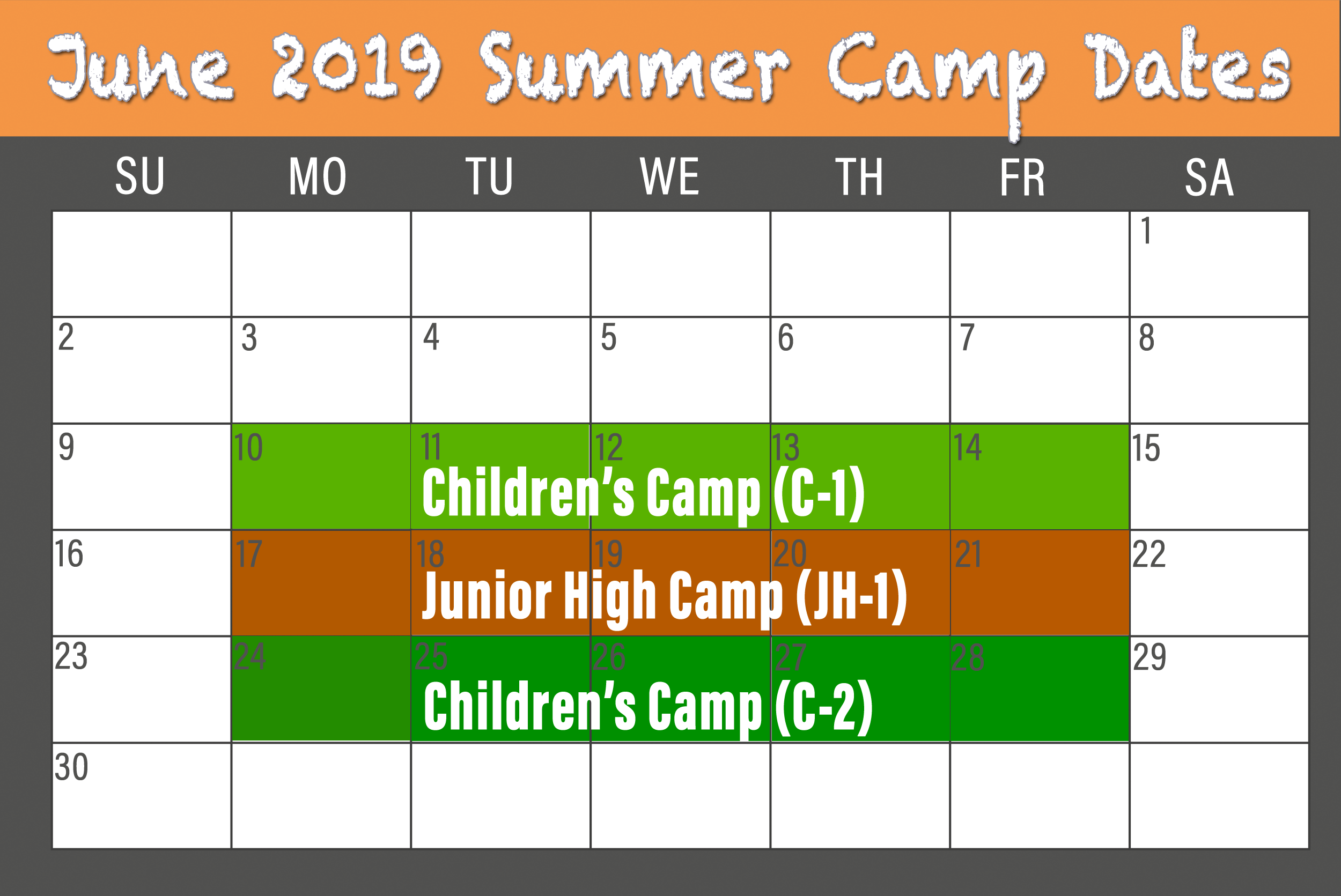 2019 June BCCC Summer Camp calendar