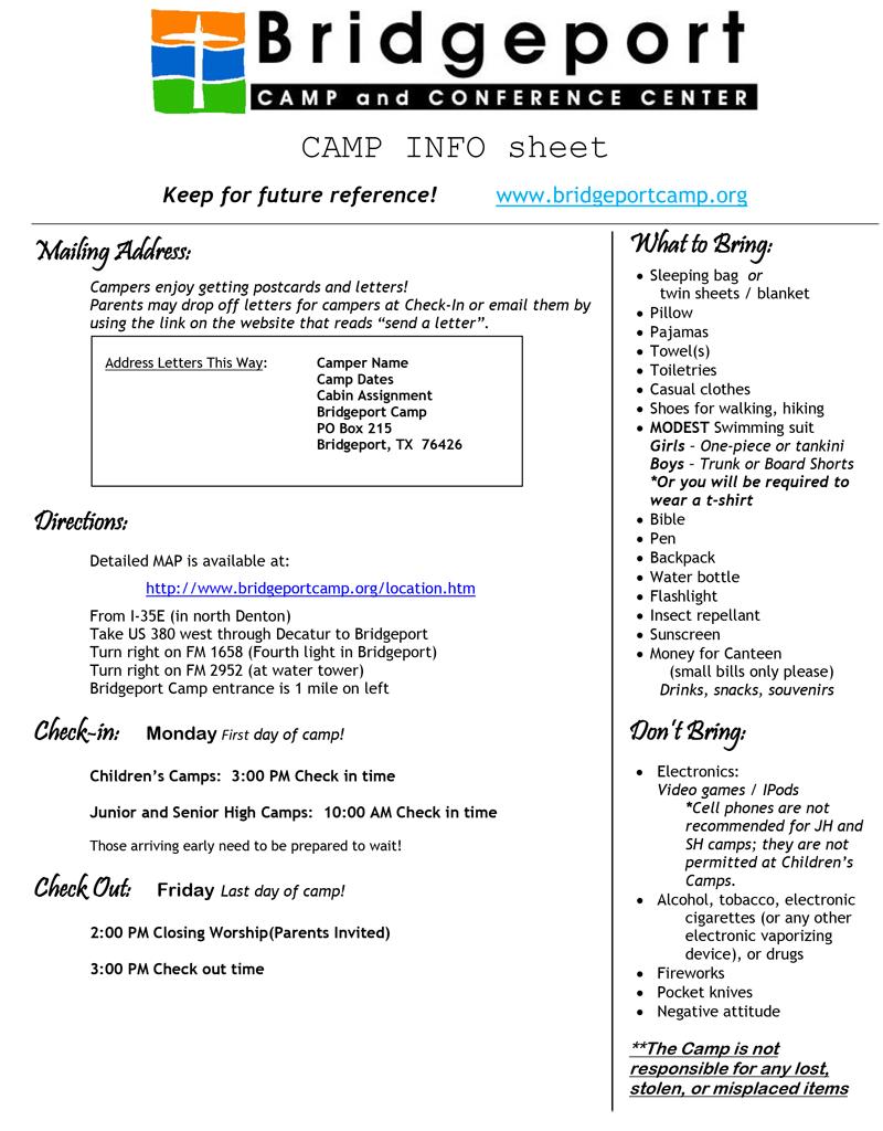 2020 Camp Info Sheet