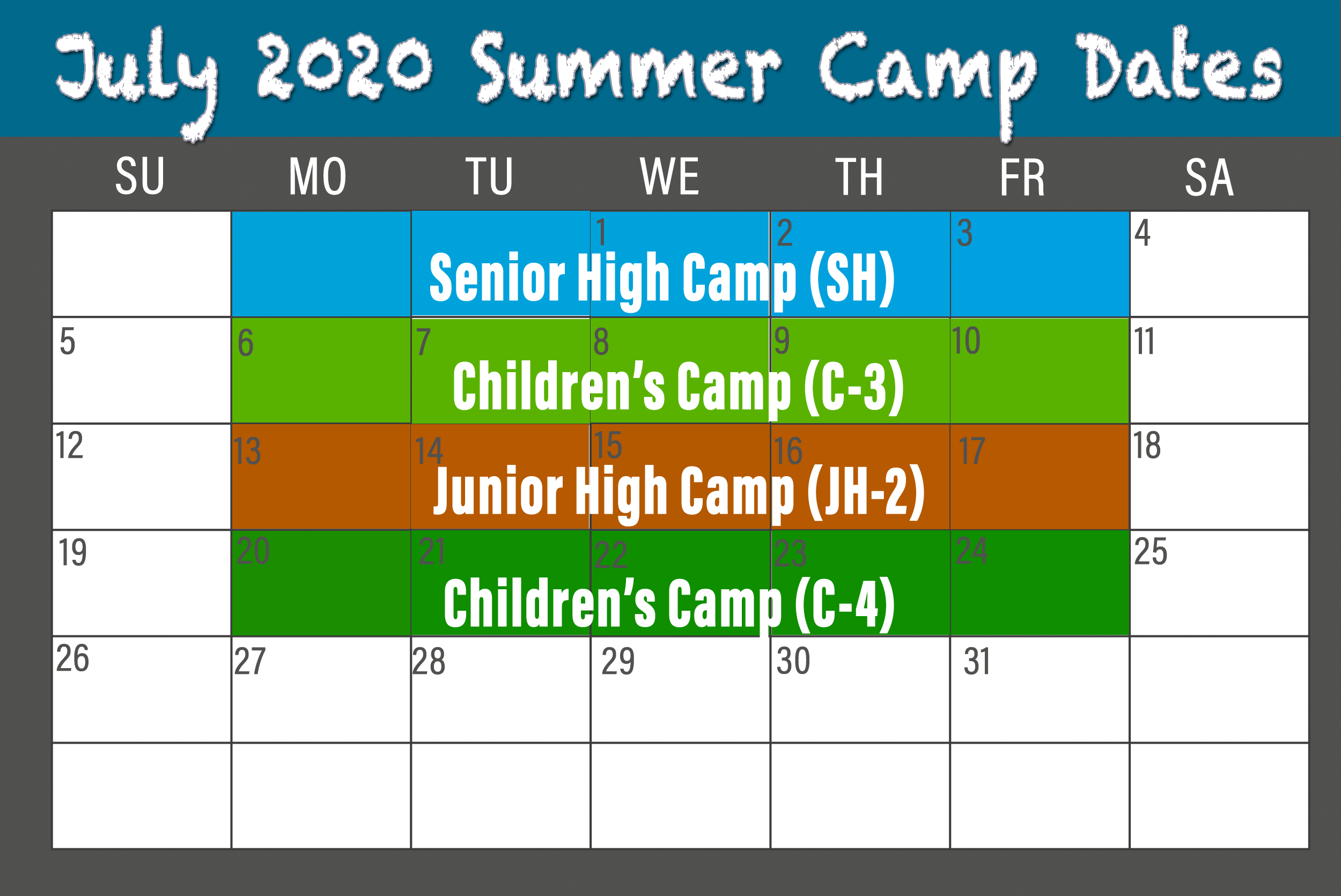 2020 July BCCC Summer Camp calendar