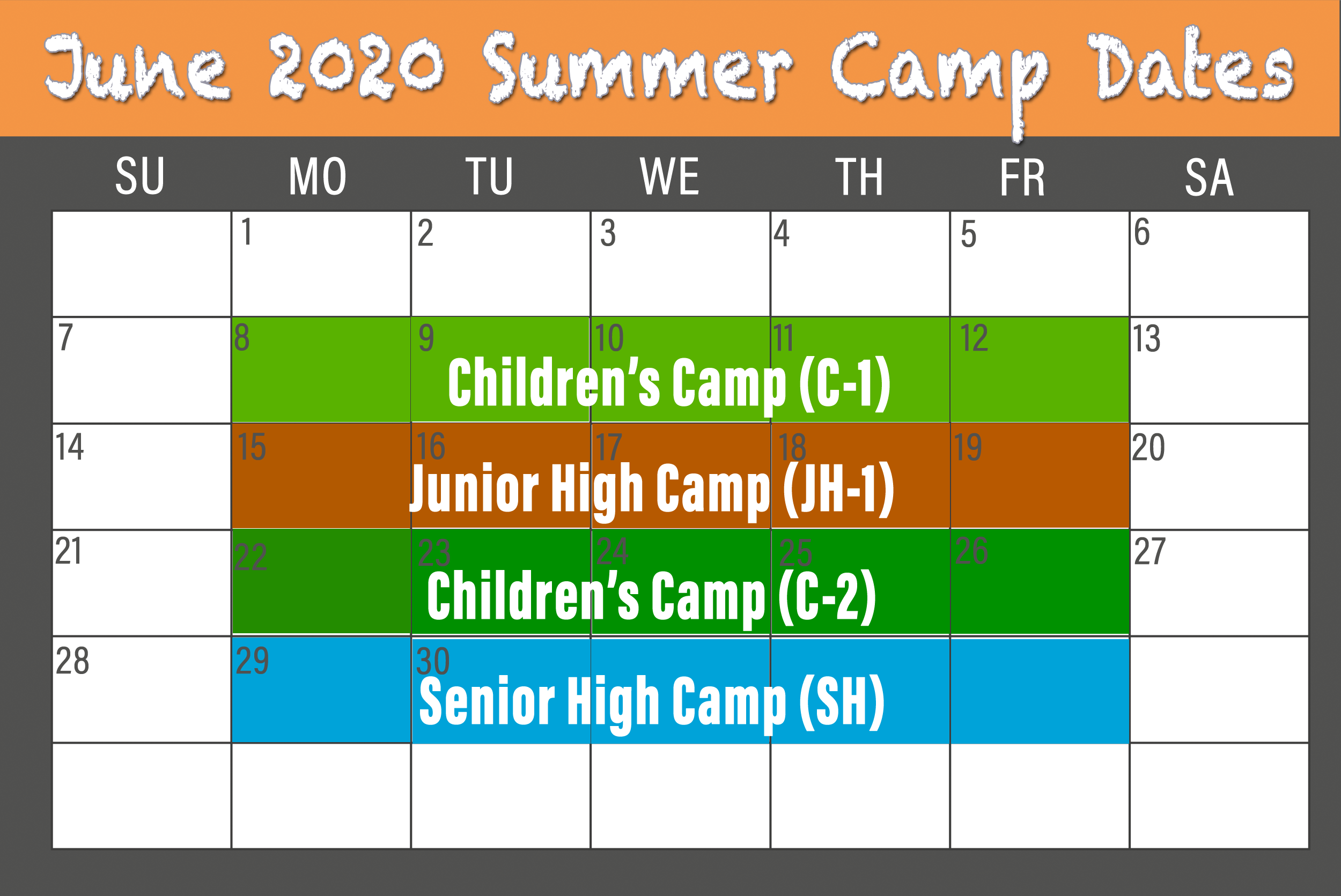 2020 June BCCC Summer Camp calendar